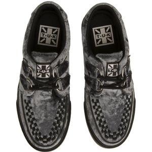 T.U.K. Icy Blue Velvet Vlk Sneakers sz 4 …